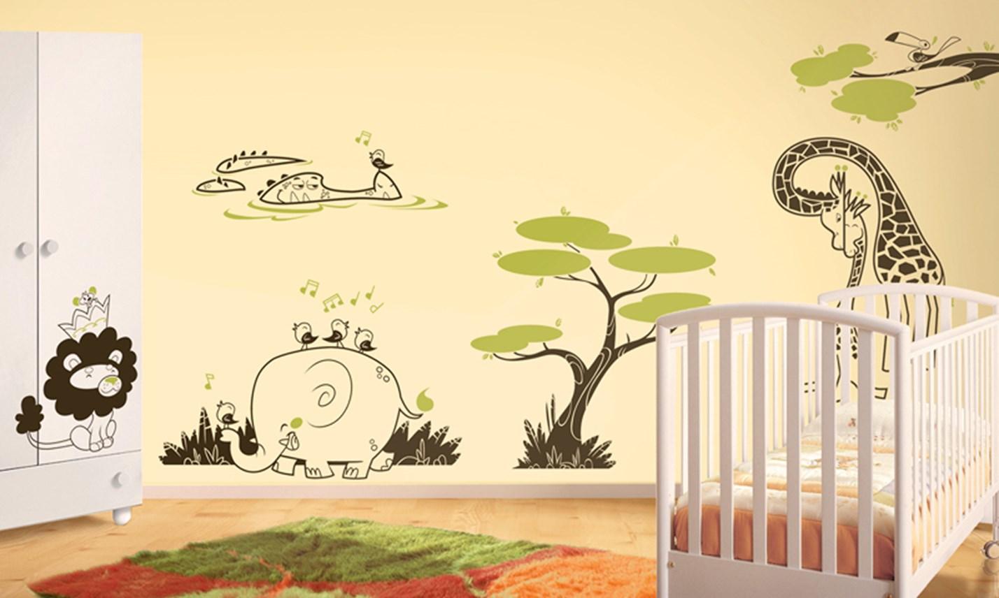 Stickers murali bambini cameretta avventura nella savana - Adesivi murali per camerette bimbi ...